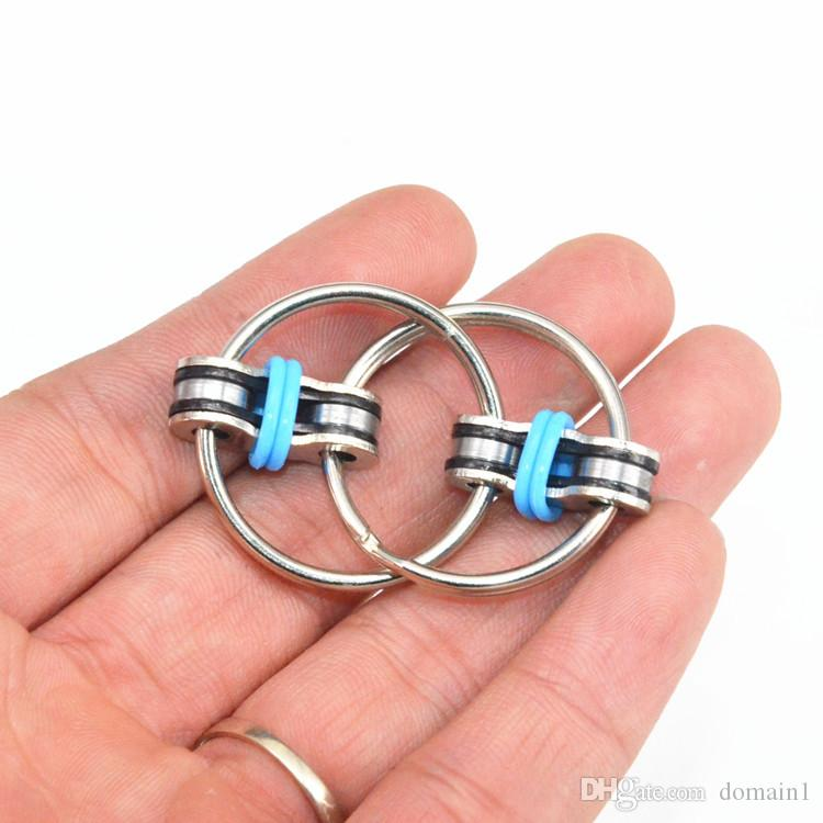Bike Chain Fidget Toy Key Ring Hand Spinner Tri-Spinner Reduce Stress EDC Fidget Toy For for Autism, ADD, ADHD, Stress and Idle Hands