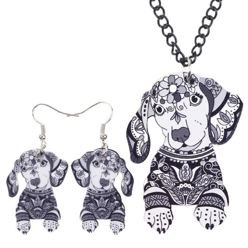 Newei Brand Jewelry Sets Acrylic Statement Dachshund Necklace Earrings Choker Collar Fashion Jewelry News For Women Girl Child