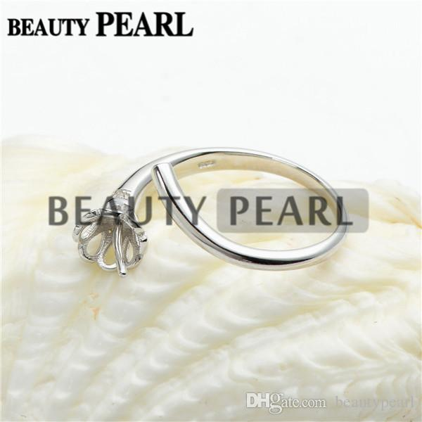 Shimmering Bouquet 925 Sterling Silver Flower Ring Blanks Pearl Mountings Creazione fai da te le impostazioni dell'anello 5 pezzi