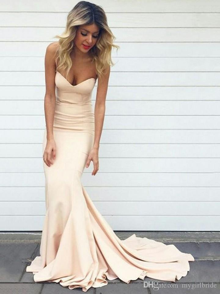 2017 Nude Pink Sexy Celebrity Mermaid Evening Dresses Long Elegant ...