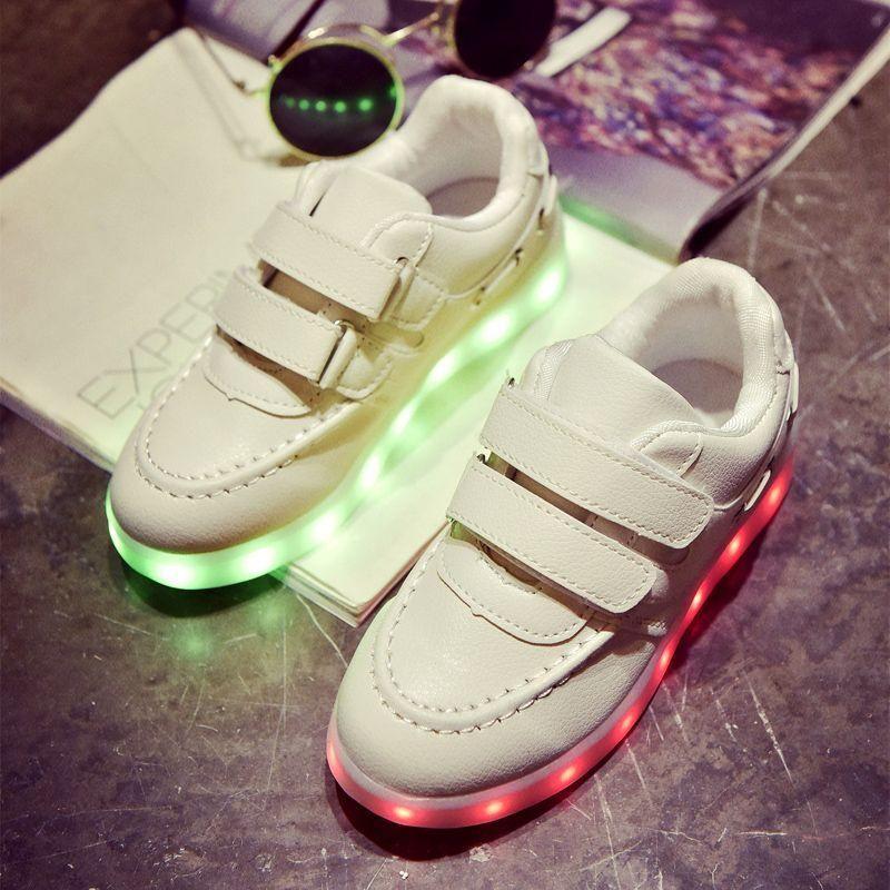 Led Kids Enfants Garçons Filles Light Up Sneakers Bébés Velcro Flat White Shoes eTOOyr