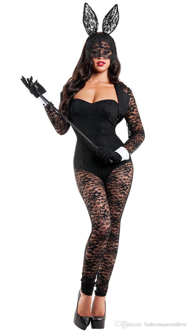 94980ac128 Black Lace Bunny Girl Tuta Sexy Coniglio Cosplay Costume di Halloween Tuta  esotica Nightclub Party Performance Clubwear