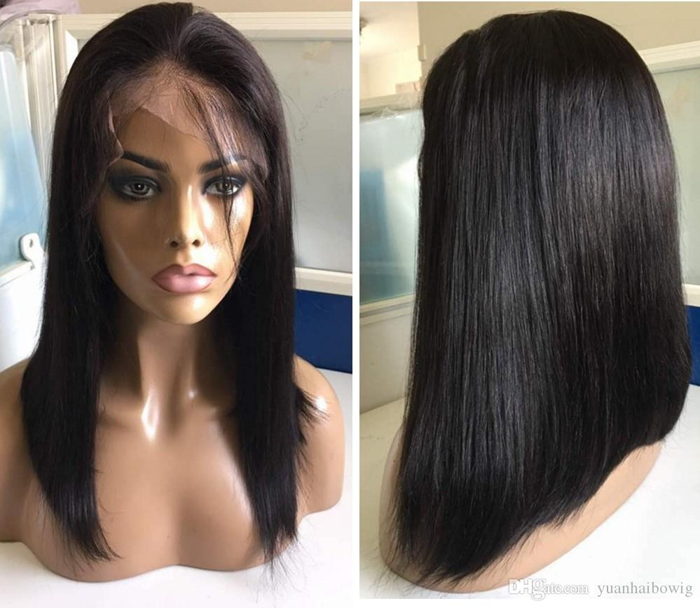 Hot Sale Virgin Indian Hair Silky Straight Long BOB Cut Lace Front Wig Full Lace Wig