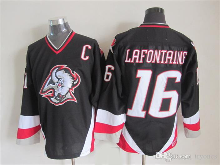 Buffalo Sabers Hockey Jerseys 16 Pat Lafontaine 11 Gilbert PerreAult 39 Dominic Hasek 1992 CCM 빈티지 스티치 저지 C 패치