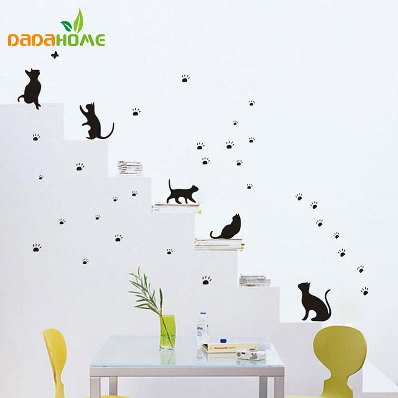 popular cats and paw prints wall sticker wall mural home decor room