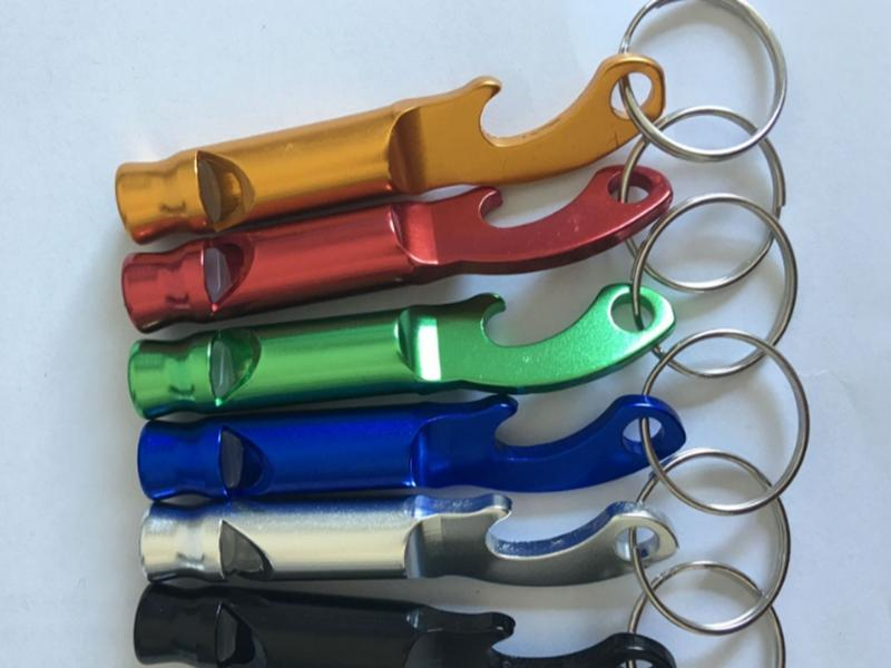 Fast shipping 2 in 1 kit Mini Aluminum Keychain Keyring Beer Bottle opener With whistle