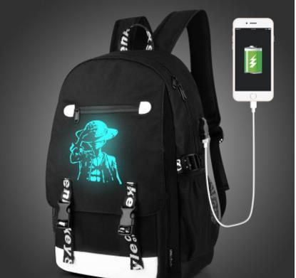 Senkey Men Mochila Moda com Mochilas Externas de Carregamento USB função de carregador de Lona Mochila Escola Luminosa Noctilucent Sacos de Desenhos Animados