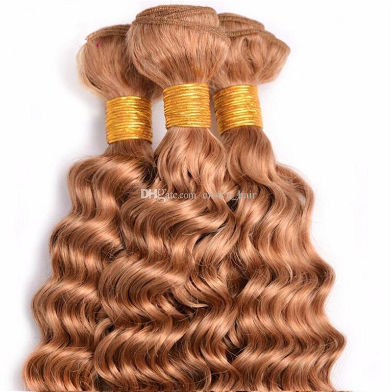 Brasilianisches reines haar reine farbe # 27 tiefe welle menschliches haar 4 bundles 10-30 zoll unverarbeitete honig blonde tiefe welle haarverlängerung 4 teile / los