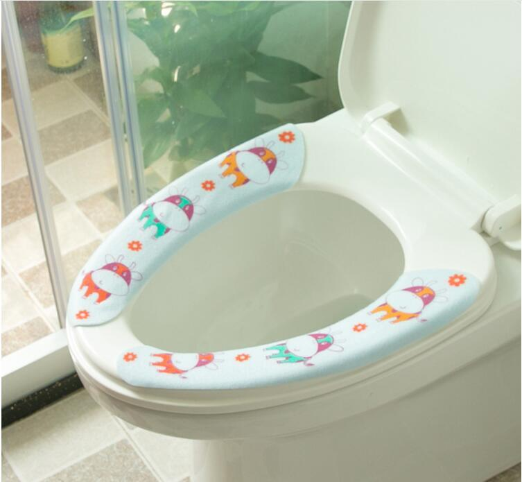 Hot Cute Cartoon Toilet Seat Covers Carpet Home Toilet Warmer Seat Cover Lid Pad Soft Comfortable Sticky Seat Toilet Case Mat