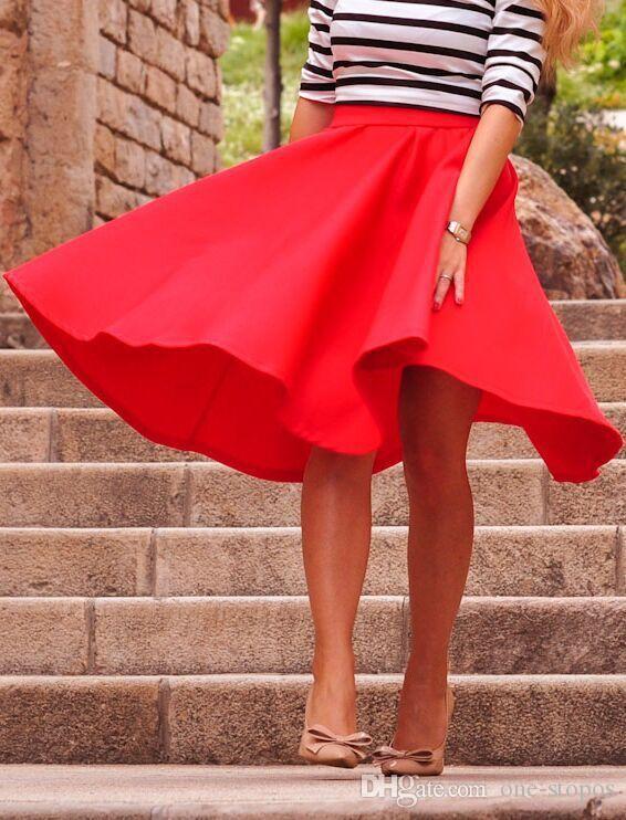 Travail formel d'été jupes 2017 une ligne longueur au genou satin femmes robes rouge rose noir Lady Office jupe FS3007
