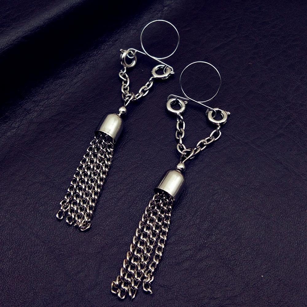 Sexy Non Pierced Clip on Nipple Ring Nipple Jewelry Fake Nipple Shield with Tassel Dangle Adjustable Body Jewelry