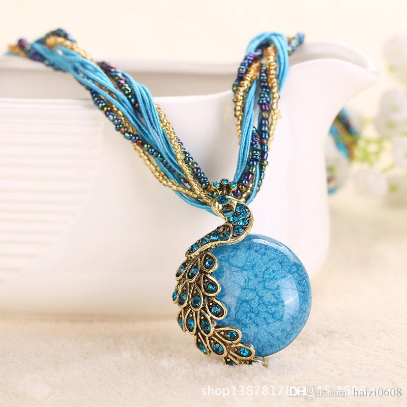 Femmes rétro pull chaîne pendentif bohème collier bijoux accessoires paon 17 couleurs peuvent être mélangé