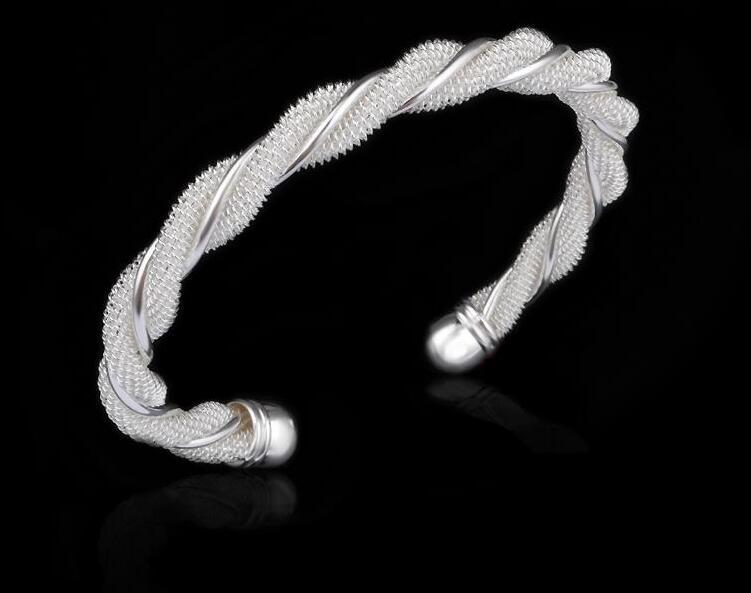 Wholesale-freeshipping 1 piece 70mm x 8mm Foreign 925 silver bracelet European and American fine jewelry for women fashion bracelet hot sell
