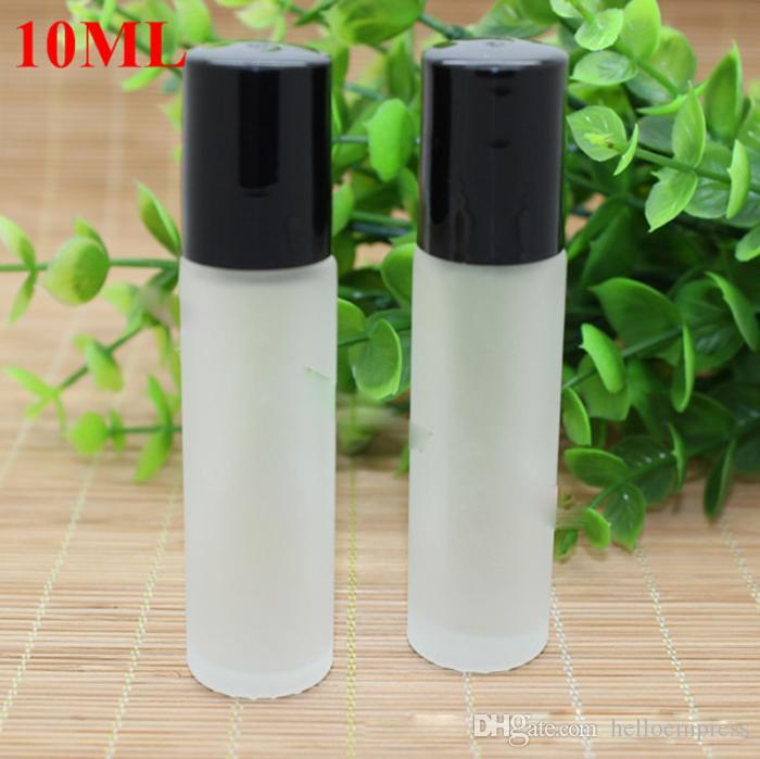 Rolle 10ml auf mattierter Glasflasche mit GlasEdelstahl-Rollenkugel-ätherischen Ölen Parfümflaschen, schwarze silberne SS Kappen für Wahl