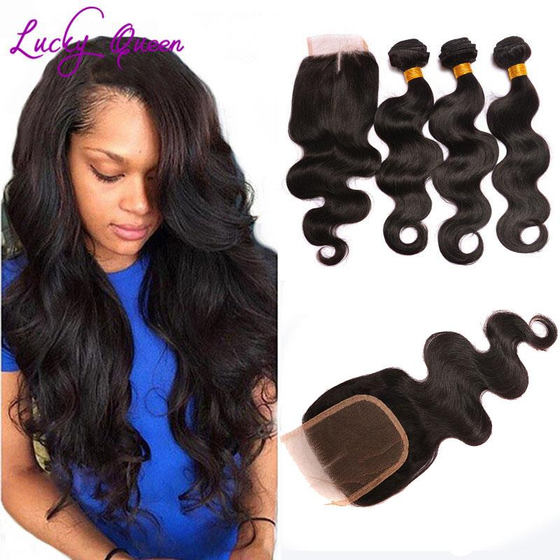 Peruvian Virgin Hair Body Wave With Closure Grade 8A Hair Company Bundles With Closure Short Human Hair Weave With Closure