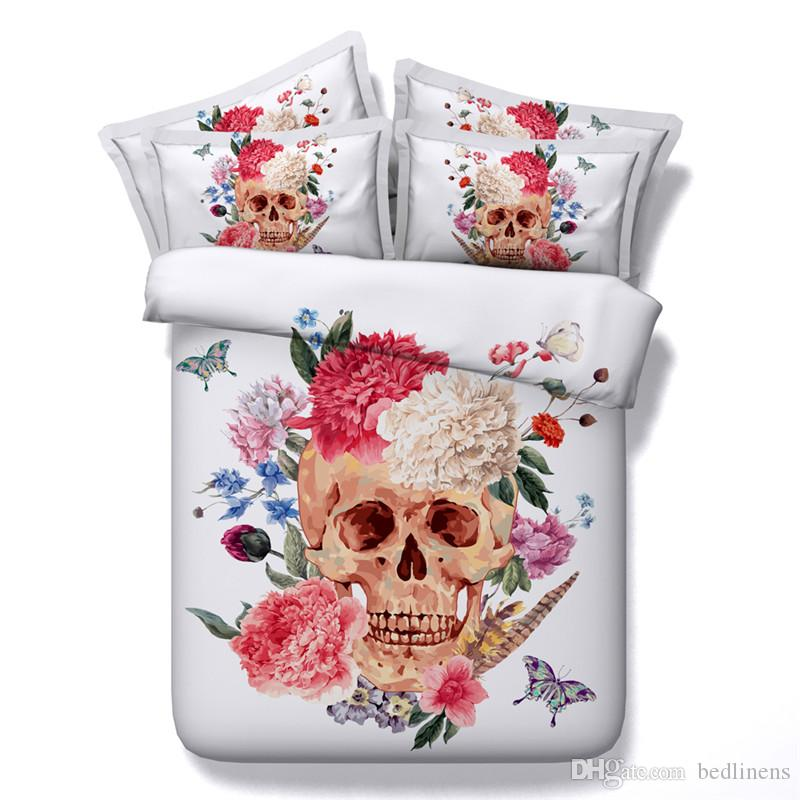 Hot 5 Styles Halloween White Flower Skull Glasses 3D Printed Bedding Set Twin Full Queen King Size Bedspreads Duvet Covers Fashion Designer
