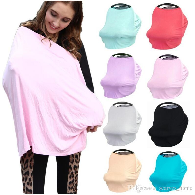 2017 New Multi-Use Stretchy Cotton Baby Nursing Breastfeeding Privacy Cover Scarf Blanket Solid Infinity Scarf Baby Car Seat Cover DHL Free