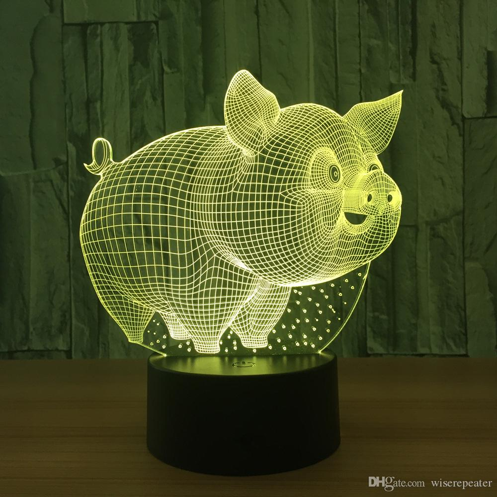 3D Pig Illusion Lamp Night Light DC 5V USB Charging 5th Battery Wholesale Dropshipping Retail Box