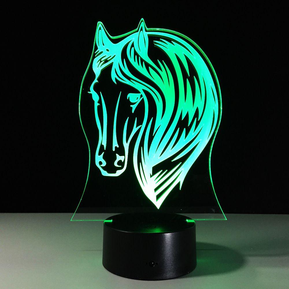 3D Horse Head Optical Illusion Lamp Night Light 7 RGB Lights DC 5V USB Charging AA Battery