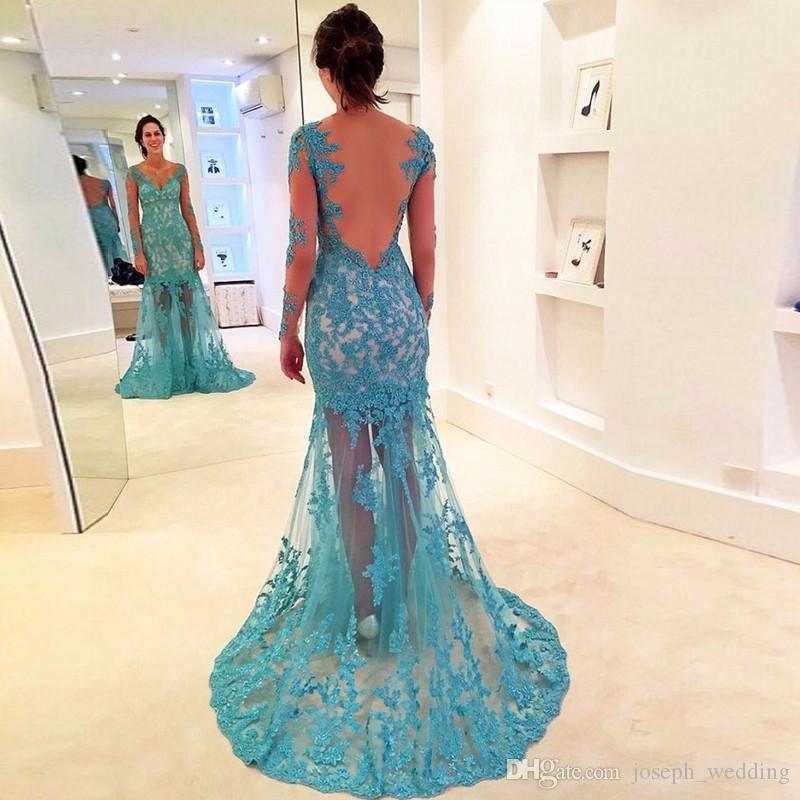Vimans Mermaid con scollo a V Appliques turchese a maniche lunghe Abito da sera vestido de festa Indietro Vedere attraverso lunghi abiti di promenade Paty