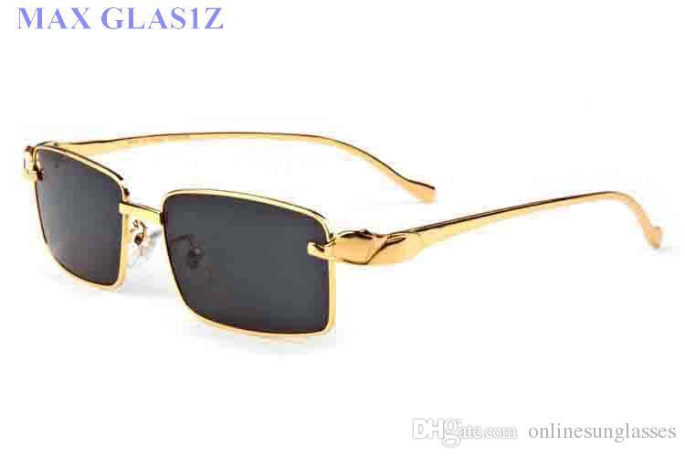 2017 gafas de sol de diseñador para mujer para hombre marca completa lente negra sin montura con leopardo oro patas de metal gafas de cuerno de búfalo con caja