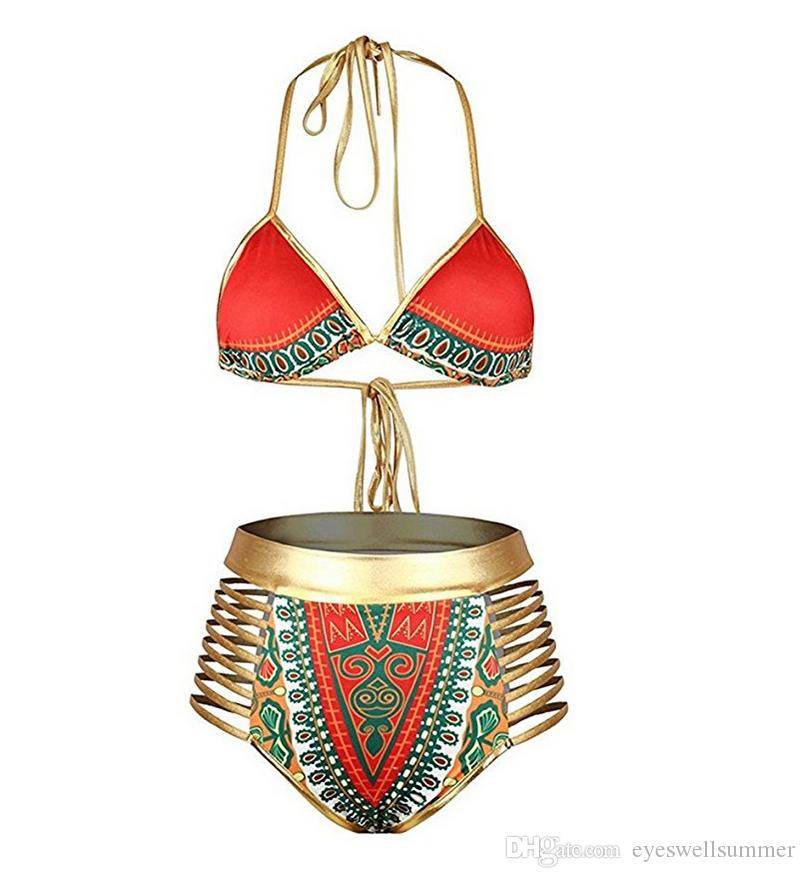 Sexy South African golden halter bikini high waist swimsuit two pieces swimwear women bathing suit bather