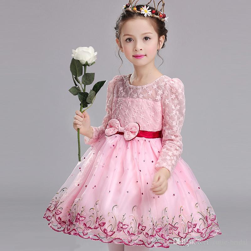 Compre En Stock Lovely Pink Nupcial Niños Vestidos Largos Mangas ...