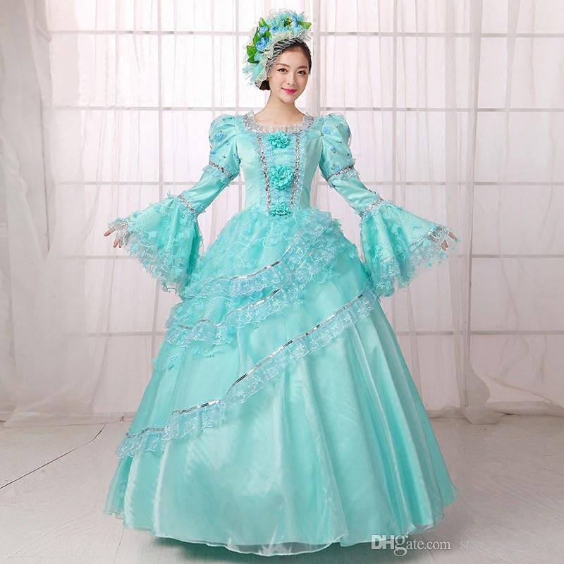 2016 Hot Sale Blue Printed Medieval Renassiance 18th century Rococo Marie Antoinette Party Dresses For Women