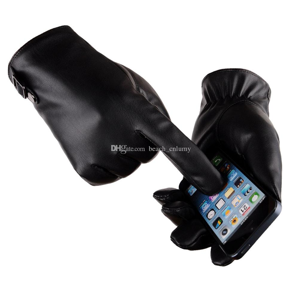 Fashion Men Gloves Thermal Winter Warm Sports PU Leather Phone Touch Screen Gloves Mittens Cashmere Five Fingers Gloves For Men Gifts