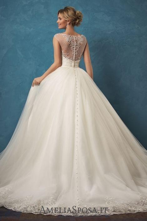 2018 Overskirts Wedding Dress Amelia Sposa Maria Lace Ball Gown Wedding Dresses Bridal Gowns Vestido De Novia Beading Buttons Bateau Capped