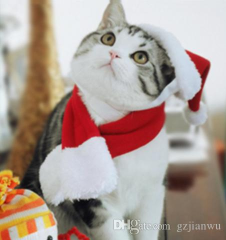 Pet Christmas Hat + Scarf for Cats & Small Dogs Holiday Accessory 5 styles/, New Year Dressing up Party Fancy Dress Clothes Costume