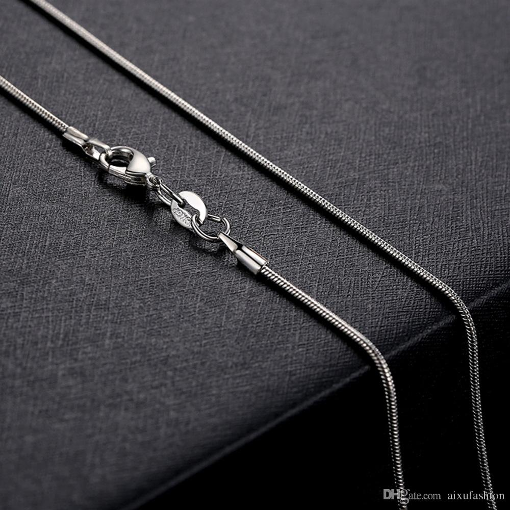 1.2MM 925 Silver Smooth Snake Chain Necklace Lobster Clasps Chains Jewelry Fashion Women Necklaces Size16 18 20 22 24inch