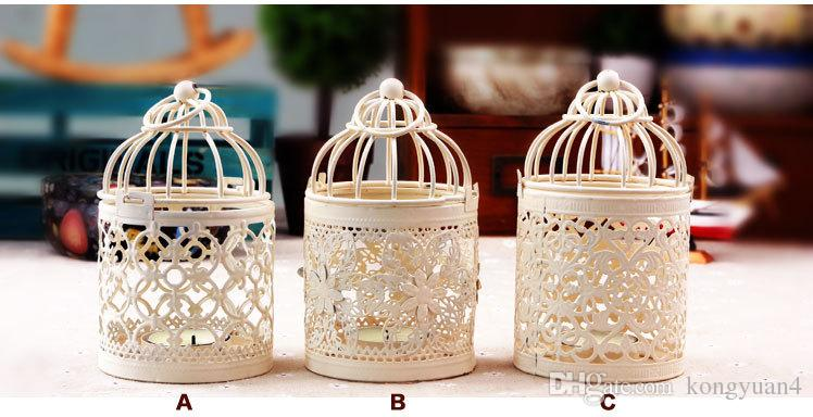 Wedding Decoration Hollow Lace Metal Modern Bird Cage Candle Holders Candlestick Creative Decor Loating Candle Holders Hanging Design Lanter