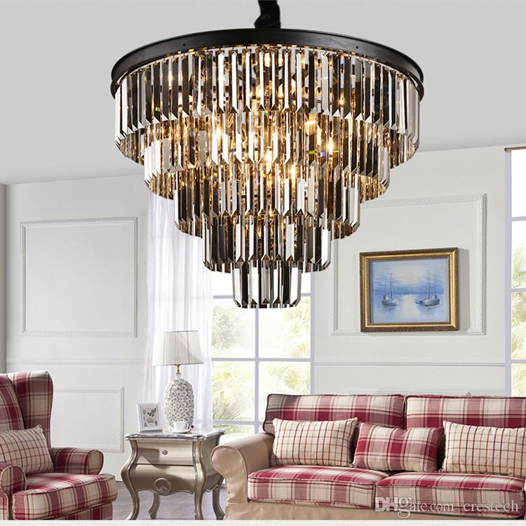 American Black Iron Art Crystal Chandeliers Dining Room Light Lighting Bedroom Lamp Smoke Gray Wooden Chandelier Brushed