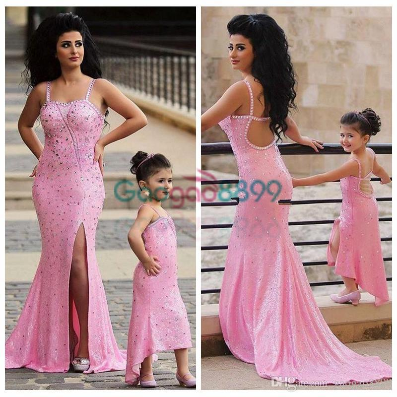 2017 Spaghetti Pink Shiny Mother Daughter Matching Dresses Rhinestones  Beaded Mermaid Prom Dress Split Trumpet Evening Gowns Mermaid Evening  Dresses Midi ... 53961d9c1656
