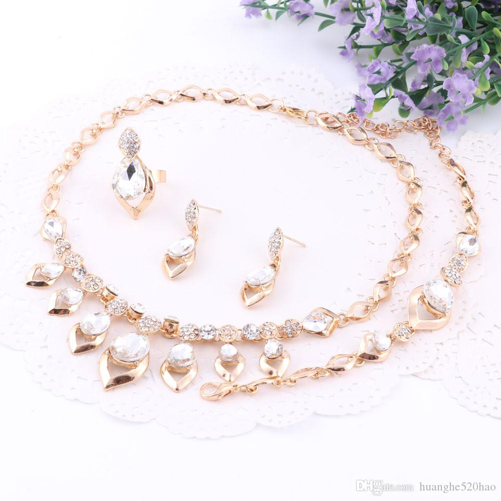 Женщины Драгоценный Камень Кулон Ожерелье Серьги Браслет Кольцо Позолоченные Ювелирные Наборы Для Женщин Свадебные Хрустальные Аксессуары