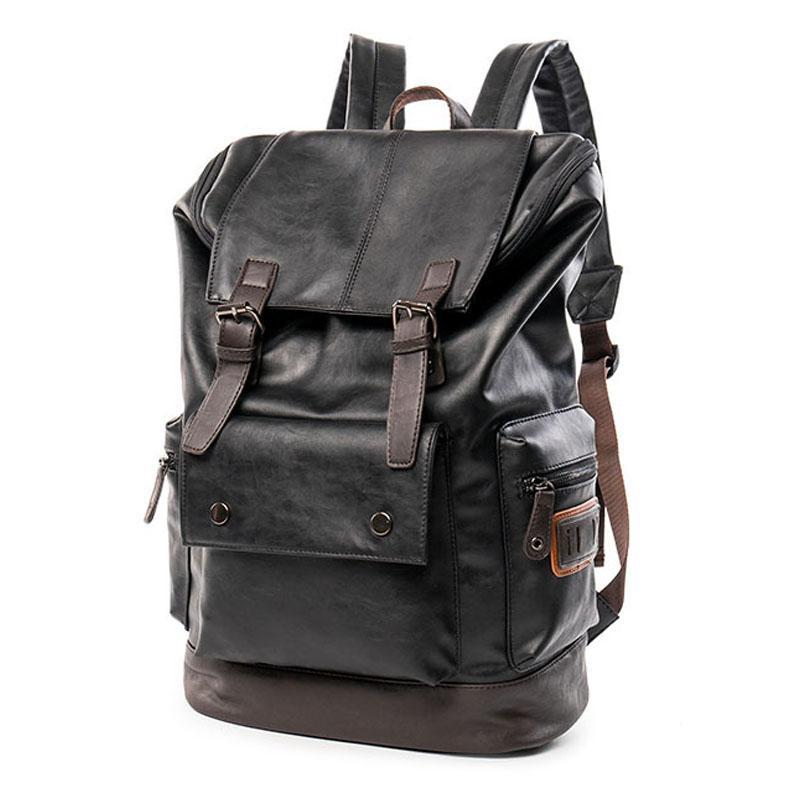 7643539940 Wholesale Men Leather Backpacks Casual Vintage Waterproof Male 14 Inches  Laptop Bag Men Black Large Travel Bag School Bags Black Backpack Camera  Backpack ...