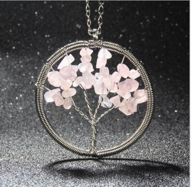 12 unids árbol de la vida colgante de amatista rosa collar de piedras preciosas chakra joyería del día de las madres regalos