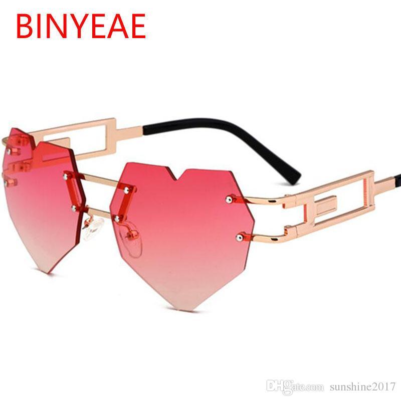 7b6ea66f46 2018 New Steampunk Heart Shaped Sunglasses Women Brand Designer Fashion  Rimless LOVE Style Transparent Red Sun Glasses For Men Metal Frame Kids  Sunglasses ...