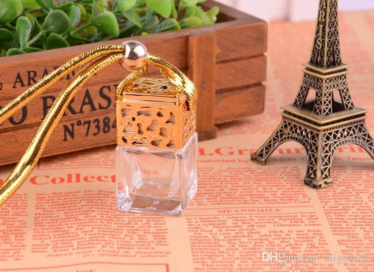 2018 High Quality 5ml Perfume Diffuser Bottle Car ,Hanging Car Diffuser Glass Bottle Nice Design Square Car Diffuser Bottles Free DHL