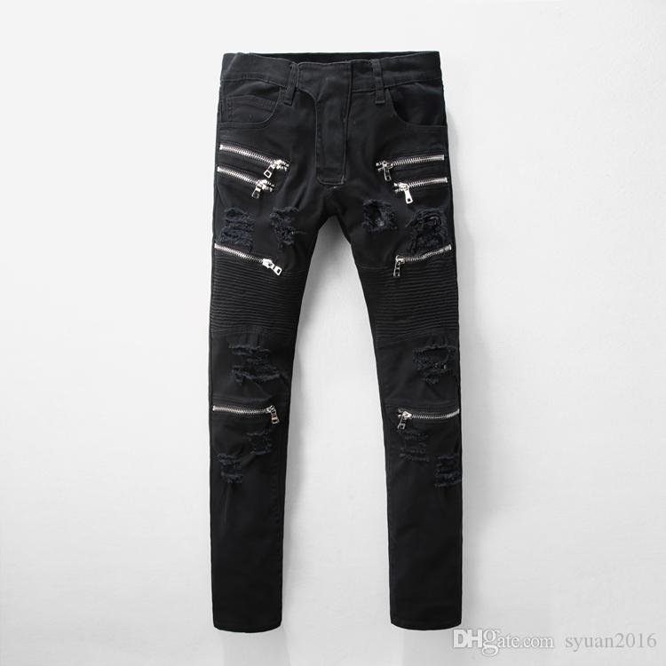2019 2017 New Fashion Men S Black Zipper Holes Ripped Biker Jeans