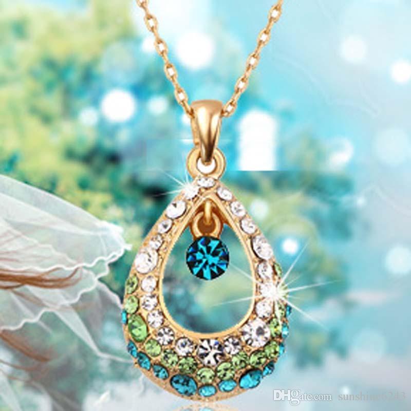 2017 nuevo collar de cristal colgante decorativo ángel cristal lágrimas collar hueco de lujo gotita collar. Envío gratis