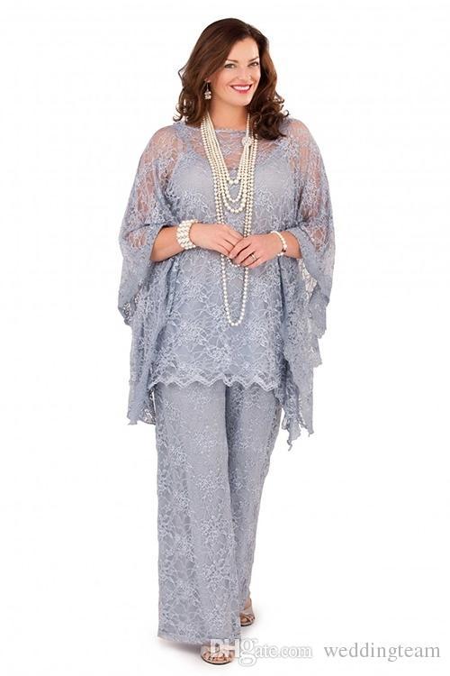 Elegante silberne Spitze Plus Size Mütter Hose Anzüge schiere Bateau Neck Spaghetti für Hochzeitsgast Kleid drei Stücke Mutter der Braut Anzug