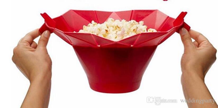 Cubeta de pipoca de silicone Recipiente de armazenamento fabricante de Pipocas Dobrável caixa de pipoca de milho balde de arroz inchado tigela de comida acessórios de cozinha