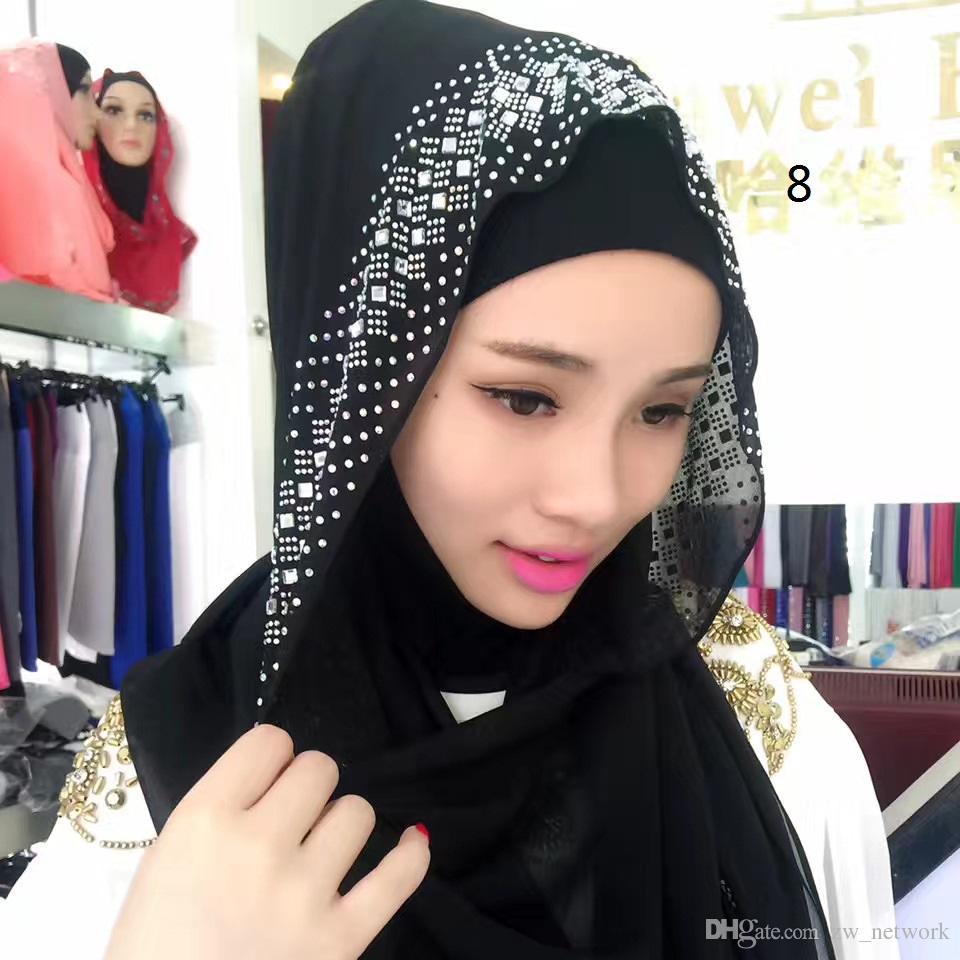 Müslüman Başörtüsü Kadınlar Kare Eşarp Türban Hicap Kafa Kaplamaları Ipeksi Saten Sarar Moda Atkılar İslam Bandana Siyah Büyük Boy Sıcak 77