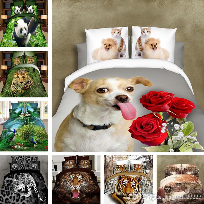Acheter Robe De Chambre King Size Animal 3d Print Sheet Pattern Set ...