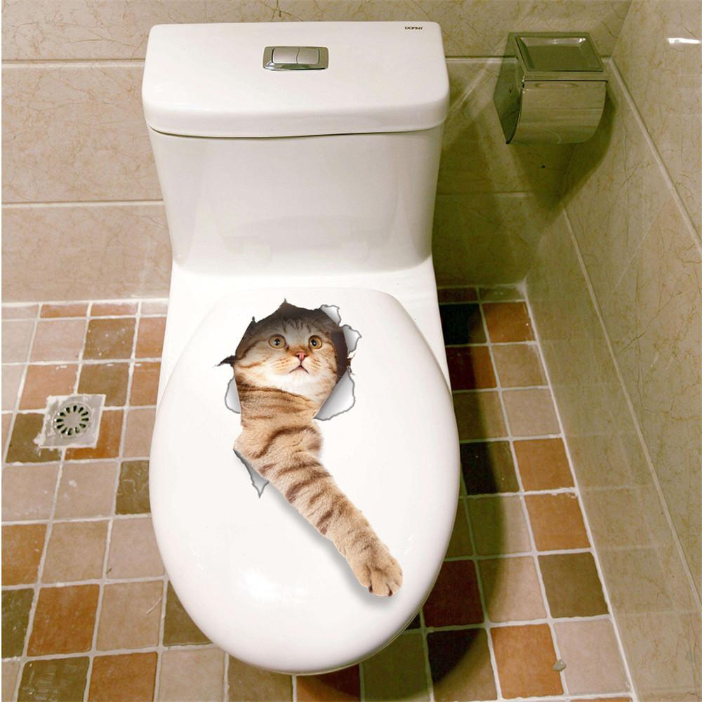 3d Cat Dog Wall Stickers Bathroom Toilet Sticker Living Room Wall
