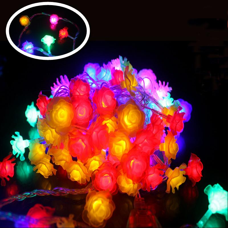 wholesale 10m led string lights ful rose led flower holiday decoration lamp festival christmas lights indoor outdoor lighting warm white led string lights