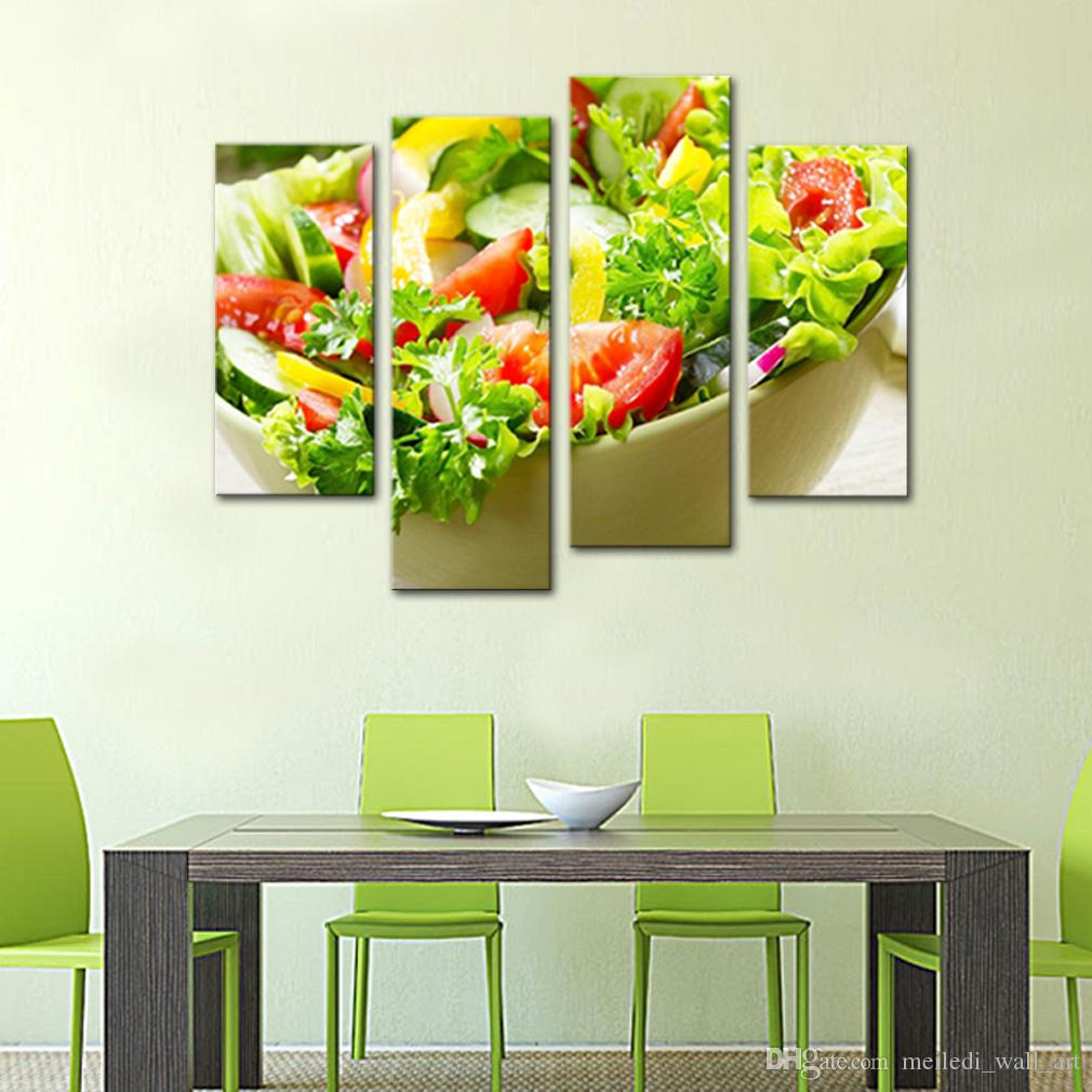 c3f59923e200 2019 4 Panels Paintings Wall Art Salad Vegetable And Fruit Picture Print On  Canvas For Restaurant Kitchen Decor Wooden Framed Ready To Hang From ...