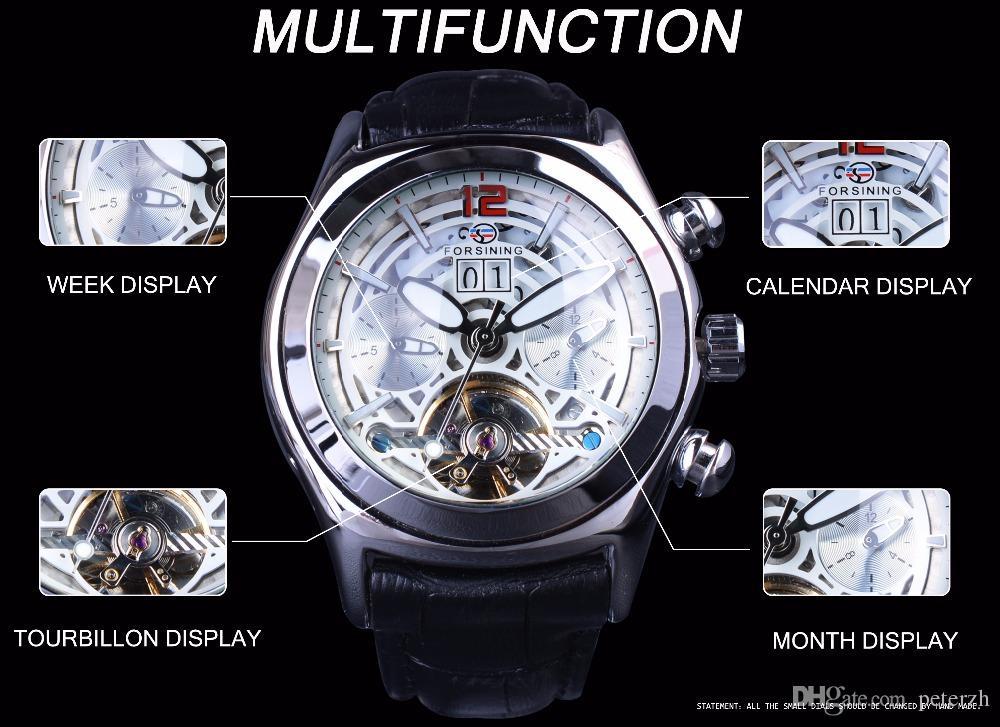 Forsining 2017 Takvim Legend Tourbillion Tasarım Hakiki Deri Kayış Mens Saatler Üst Marka Lüks Otomatik İskelet Saat